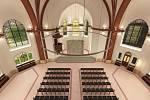 Vizualizace proměny interiéru Červeného kostela v Olomouci