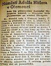 Článek z olomouckého Moravského večerníku z 18.3.1939 o zasedání městské rady s novým starostou, nacistou Heinrichem Schmidtem