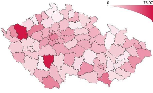 Přehled výskytu laboratorně prokázaného covidu podle regionu. 12.září 2021