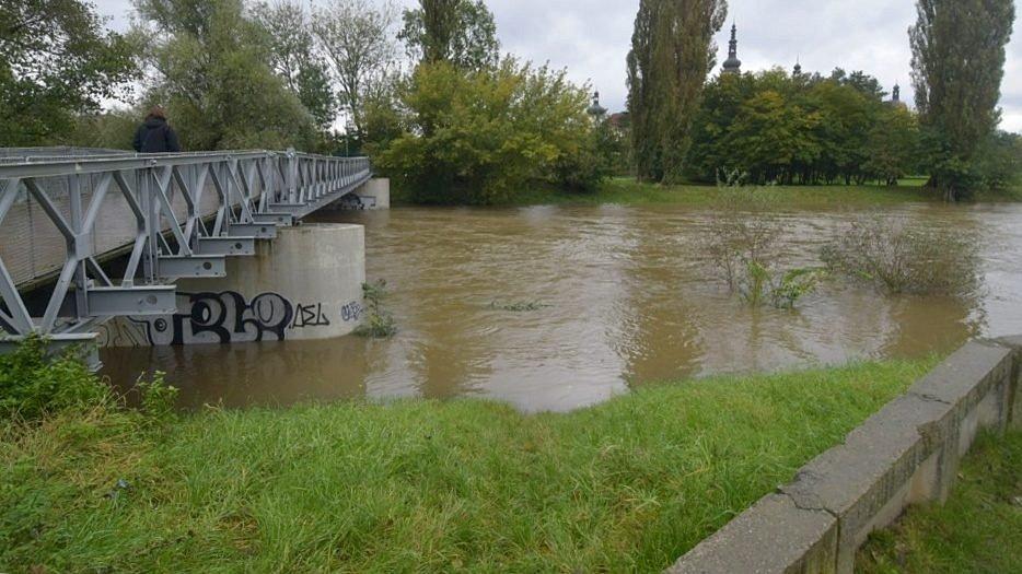 Řeka Morava u Klášterního Hradiska v Olomouci, 16. října 2020