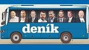 Deník-busem vyrážejí (zleva): Ladislav Okleštěk (ANO), Roman Váňa (ČSSD), Alexander Černý (KSČM), Michal Zácha (ODS), Marian Jurečka (KDU-ČSL), Aleš Jakubec (TOP 09), Radim Sršeň (STAN) a Lubomír Hartmann (Realisté)
