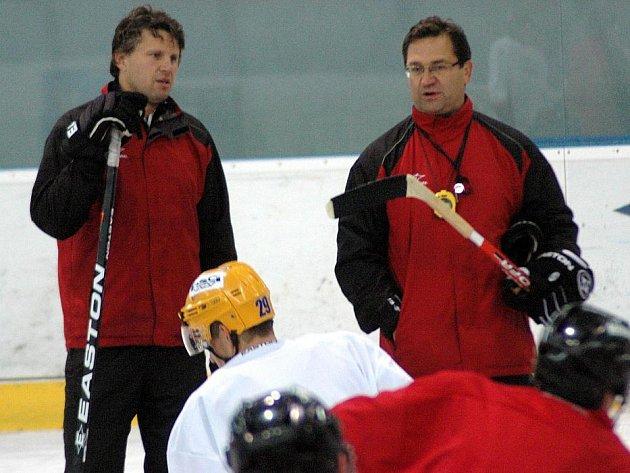 Trenéři HC Olomouc Jan Tomajko a Petr Fiala