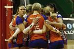 Volejbalistky Olomouce (v oranžovém) porazily Liberec 3:0.