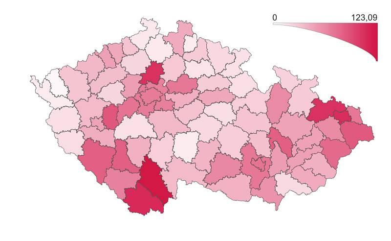 Přehled výskytu prokázaného Covidu-19 podle regionu.7. října 2021