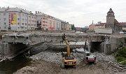 Demolice mostu v ulici Komenského v Olomouci - 20. července 2018