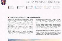 Web o ceně města Olomouce