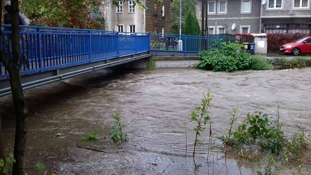 Řeka Bystřice v Hlubočkách, 14. října 202