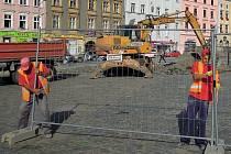 Oprava Dolního náměstí v Olomouci - začátek prací