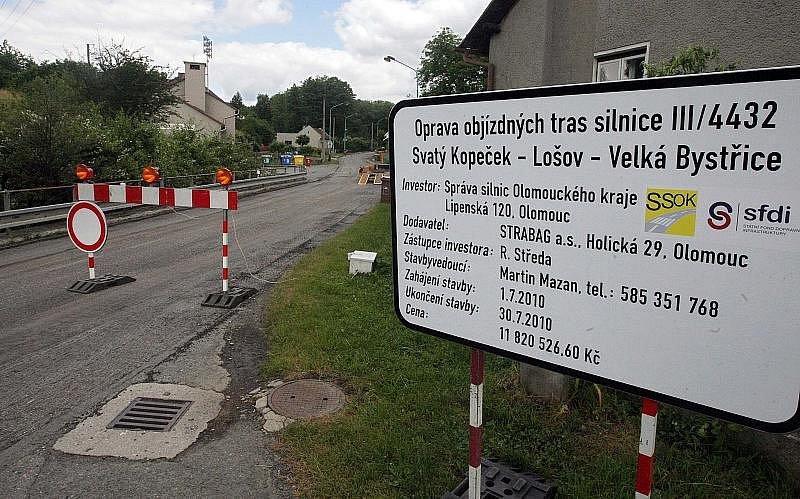 Oprava silnice Svatý Kopeček - Lošov - Velká Bystřice