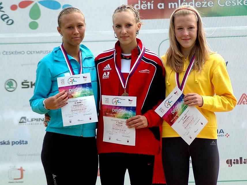 Barbora Zatloukalová (vpravo) získala pro Olomoucký kraj bronz v závodě na 100 m překážek