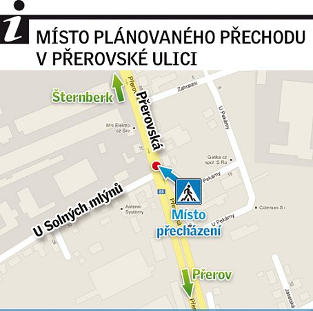Místo přechodu vPřerovské ulici