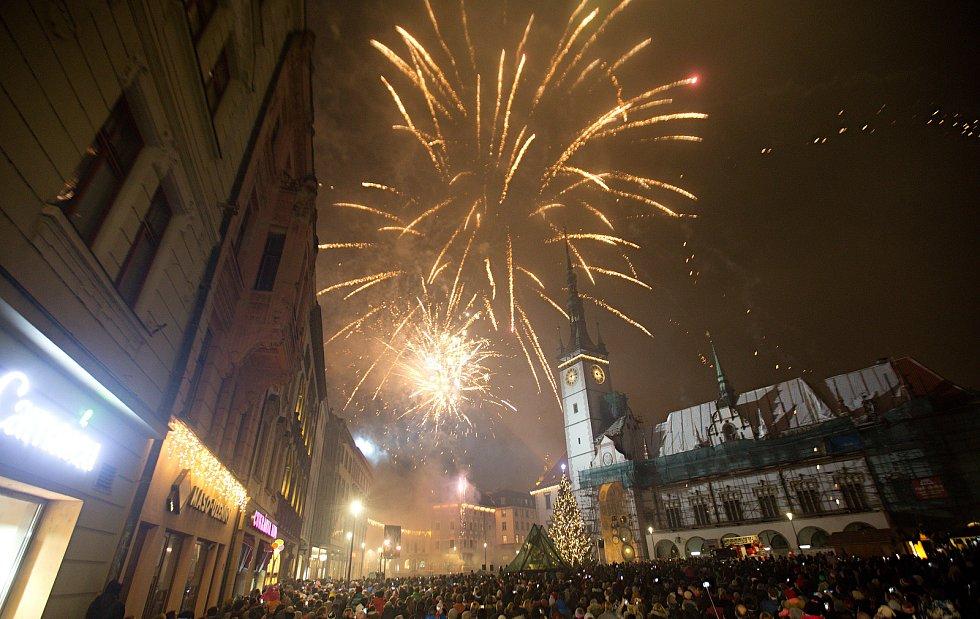 Novoroční ohňostroj na Horním náměstí v olomouci