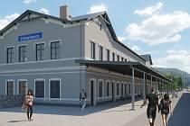 Vizualizace budoucí podoby výpravní budovy v Hanušovicích.