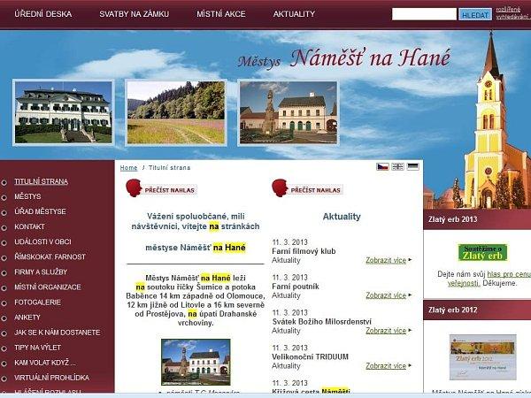 Web městyse Náměšť na Hané