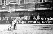 Srpen 1968. Nápis v Univerzitní ulici