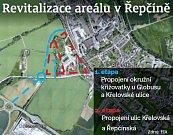 Plán dopravního napojení chystaného montážního areálu v Řepčíně