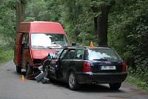 Střet dodávky s Audi u Domašova