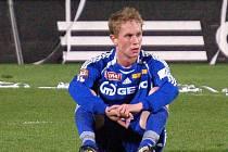 Smutný záložník SK Sigma Lukáš Bajer po skončení utkání.
