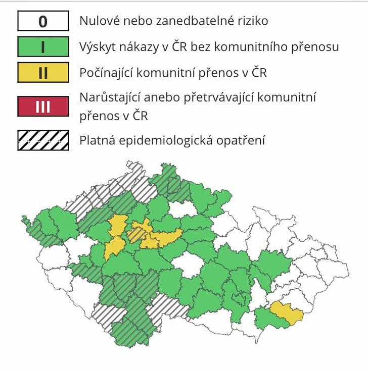 Ministerstvo zdravotnictví aktualizovalo 11. září 2020 tzv.semafor. Okresy Olomouc. Prostějov zezelenaly.
