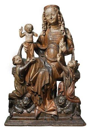 Mistr figur apoštolů – dílna, Trůnící Madona na lvech ze Skarbimierze, 2.třetina 14.století, Muzeum Narodowe we Wrocławiu