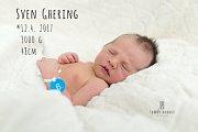 Sven Ghering, Drahanovice, narozen 12. dubna v Roudnici nad Labem, míra 48 cm, váha 3000 g