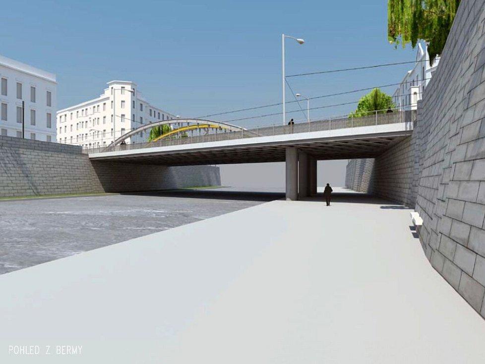 Vizualizace nového mostu přes Moravu na Masarykově třídě