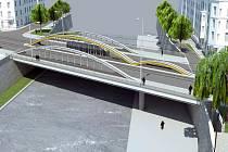 Součástí protipovodňových úprav v centru Olomouce je i přestavba mostu v Masarykově ulici. Na vizualizaci jeho chystaná podoba