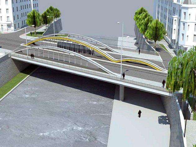 Součástí protipovodňových úprav vcentru Olomouce je ipřestavba mostu vMasarykově ulici. Na vizualizaci jeho chystaná podoba