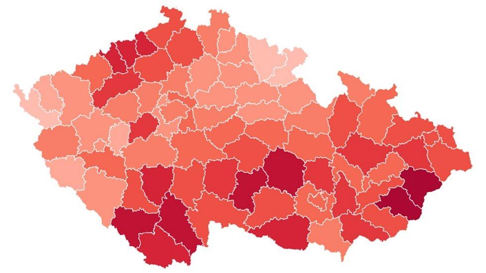 Počty nakažených na 100 tisíc obyvatel za posledních 7 dní podle okresů