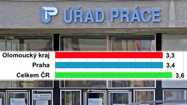 V Olomouckém kraji v srpnu 2021 podíl nezaměstnaných osob poklesl na 3,3 procenta