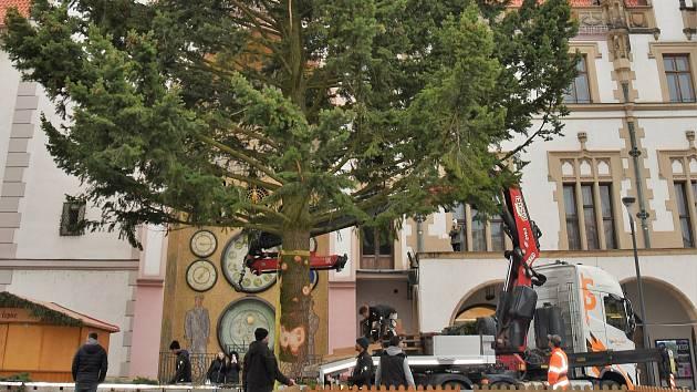 Instalace vánočního stromu na Horním náměstí v Olomouci. Ilustrační foto
