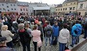 Setkání prezidenta Zemana s veřejností na náměstí ve Šternberku