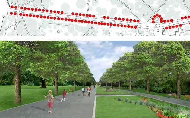 Budoucí podoba lipové Rudolfovy aleje ve Smetanových sadech vOlomouci, která počítá sdesetimetrovými rozestupy mezi stromy. Vizualizace stavu po 50letech