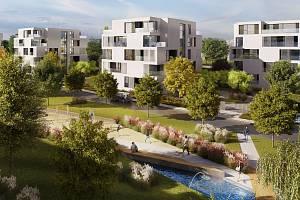 Vizualizace obytné čtvrti Šantovka Living, která má vyrůst v bývalé průmyslové lokalitě u historického centra Olomouce