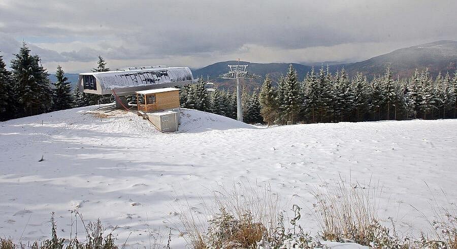 Horní stanice lanovky v novém areálu v Koutech nad Desnou