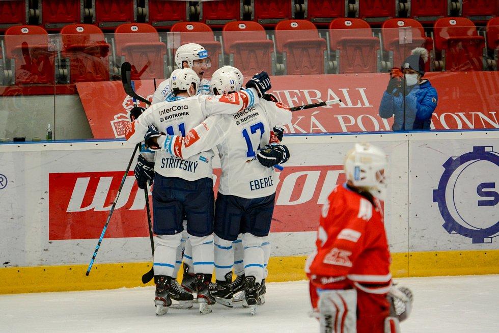 Olomoučtí hokejisté v třetím zápase předkola proti Plzni.
