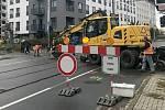 Oprava přejezdu ve Wolkerově ulici v Olomouci, pondělí 4. listopadu 2019
