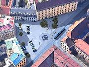 Návrh náměstí Republiky ve variantě s 20 parkovacími stáními – se stromy v ploše náměstí
