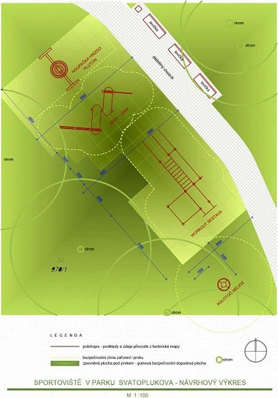 Nákres úpravy hřiště ve Svatoplukově ulici v Řepčíně
