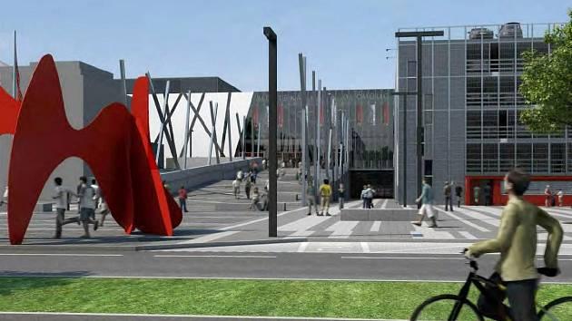 Vizualizace prostoru před Městskou halou Olomouc, která má vzniknout přestavbou zimního stadionu