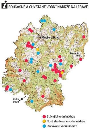 Stávající a chystané rybníky na území ve správě Vojenských lesů na Libavé