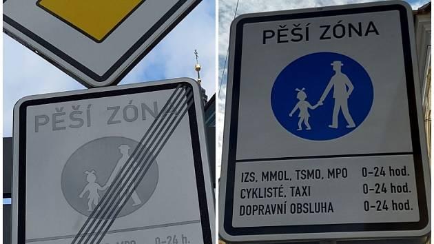 Nová omezení chodců v pěší zóně historického centra památkové rezervace Olomouce.