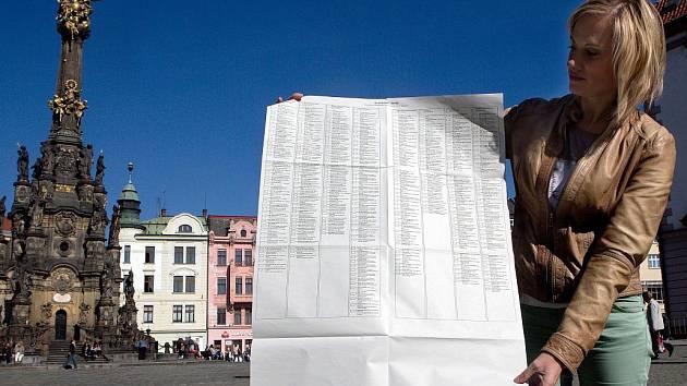 Volební lístek pro komunální volby v Olomouci má velikost plakátu.
