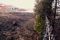 Požár trávy poškodil nejen živý plot