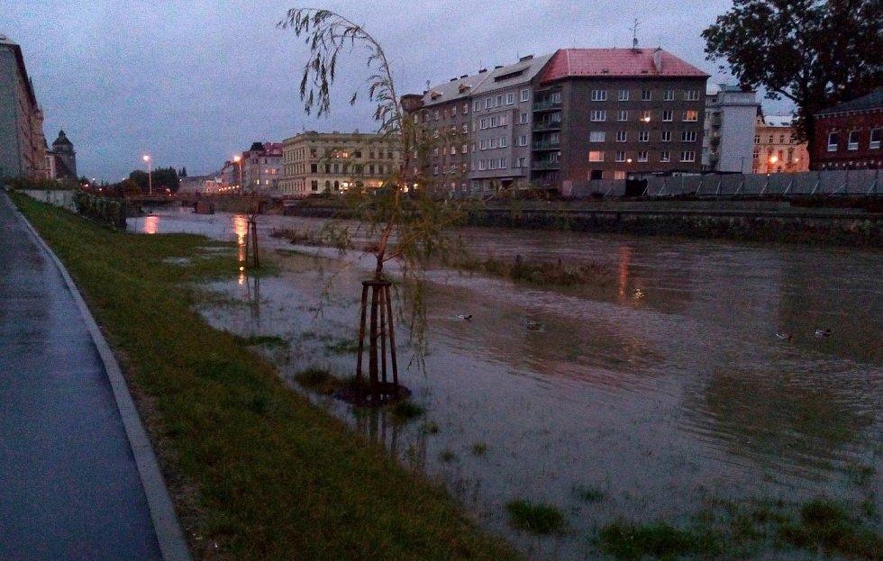 Morava u VŠ kolejí na Envelopě v Olomouci, 14. října vpodvečer