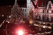 Vánoční strom a trhy na olomouckém Horním náměstí