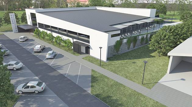 Vizualizace - Krytý bazén ve Šternberku bude obsahovat plavecký bazén, výukový bazén, dětský bazén, zábavný bazén, masážní a relaxační prvky, dále bude vzařízení wellness centrum, tobogán a bufet.