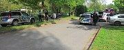 Nehoda policejního vozu v ulici Jarmily Glazarové v Olomouci