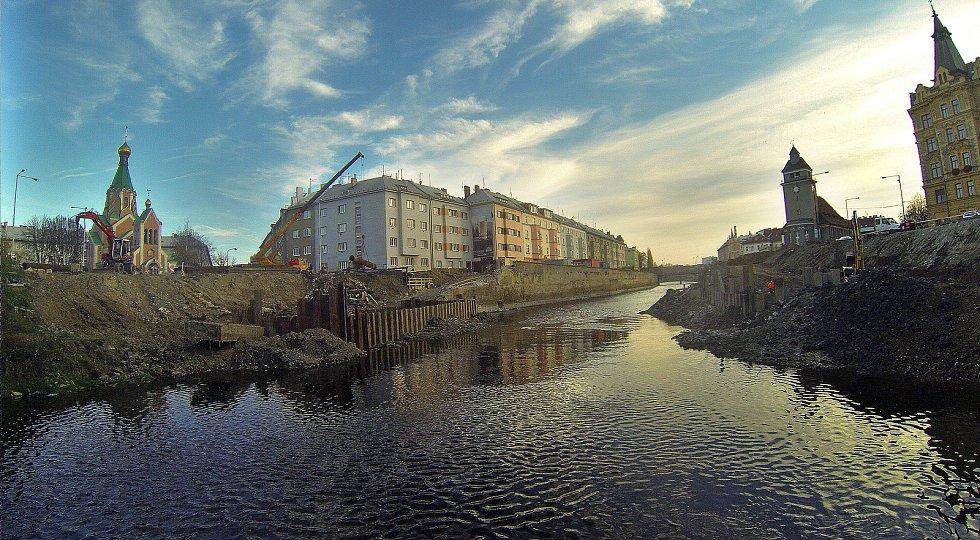 """Stavba protipovodňových opatření """"u Bristolu"""" v centru Olomouce"""