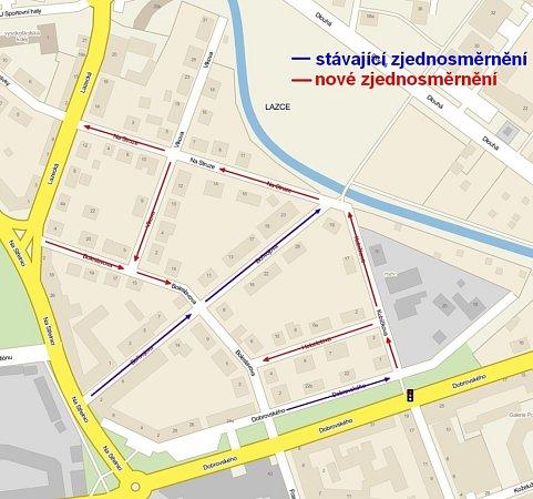 Vněkolika ulicích olomoucké městské části Lazce chce radnice zavést systém jednosměrek